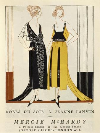 "Women's Fashion Plate Depicting Evening Dresses, from ""Le Bon Ton"" Magazine, 1920"