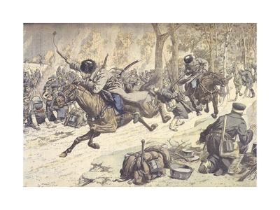 Russian Cavalry Attacking Japanese Camp at Liao-Tung, China, During Russo-Japanese War of 1904-1905