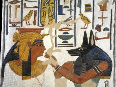 Egypt, Tomb of Nefertari, Mural Painting of Queen before God Anubis in Burial Chamber