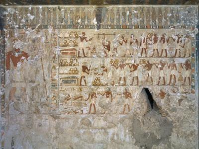 Egypt, Tomb of City Governor and Vizier Hepu, Mural Paintings Showing Craftsmen