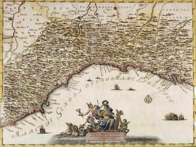 Republic of Genoa, Map by Guillaume De L'Isle From, the Present State of the World, Venice, 1751