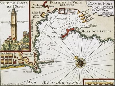 Genoa Harbor, Map from the Portolan Charts of the Mediterranean Sea, Amsterdam, 1709