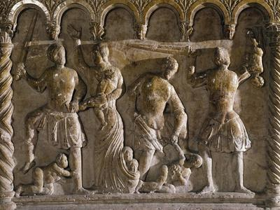 Slaughter of Innocents, Relief, Panel of Baptismal Font, Church of San Giovanni in Fonte