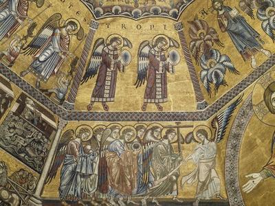 Angels and Saints, Detail from Mosaic of Octagonally-Segmented Central Dome, 1270-1300