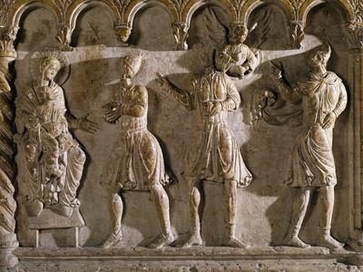 Adoration of Magi, Relief, Panel of Baptismal Font, Church of San Giovanni in Fonte, Verona
