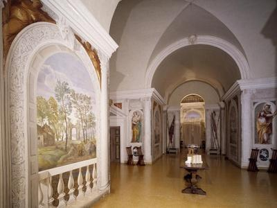 Glimpse of Cruciform Hall with Frescoes