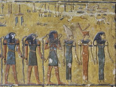 Egypt, Luxor, Valley of the Kings, Tomb of Seti I, Mural Painting of Gods from Nineteenth Dynasty