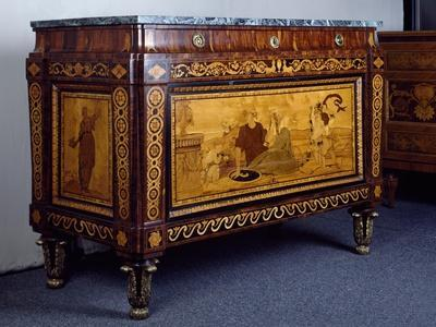 Chest of Drawers with Inlays and Marble Top, 1775