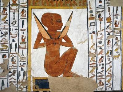 Egypt, Valley of the Queens, Tomb of Nefertari, Mural Painting of Guardian in Burial Chamber