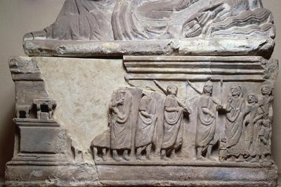 Sarcophagus Depicting Court Scenes, in the Centre, Magistrate Holding Scroll