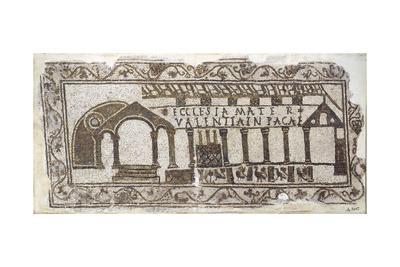 Tunisia, Tabarka, Mosaic Work Depicting a Christian Basilica