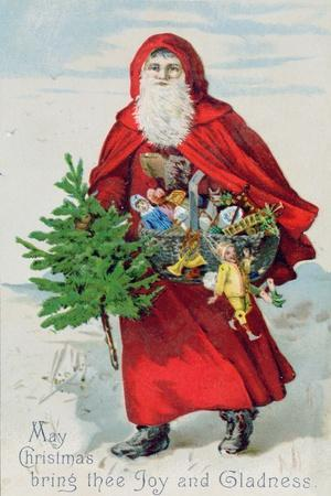 Father Christmas in the Snow, Victorian Postcard