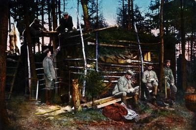 Six German Soldiers in a Makeshift Hut in the Forest, France, 1915