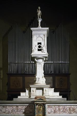 Marble Ciborium in Cathedral of Volterra, Tuscany, Italy