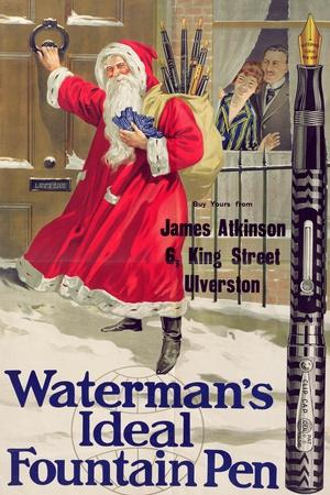 Christmas Poster Advertising Waterman's Ideal Fountain Pen, C.1910