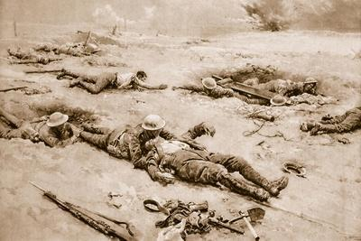 The First Stage Homewards: Regimental Stretcher-Bearers Bringing Wounded in from the Battlefield