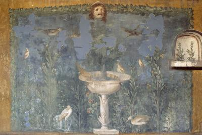 Fresco with Fountain, Mask and Birds, House of Venus in Shell, Pompeii