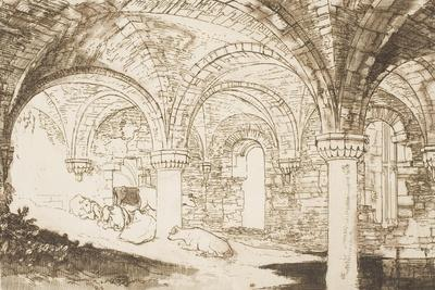 "Crypt of Kirkstall Abbey, from the Series ""Liber Studiorum"", 1810"