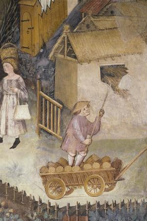 Farmer on Wagon, Detail from the Month of August, Panel Taken from Cycle of the Months