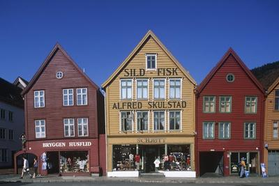 Norway, Bergen, Bryggen, Old Wharf, Tyskebryggen, German Wharf, Hanseatic Commercial Buildings