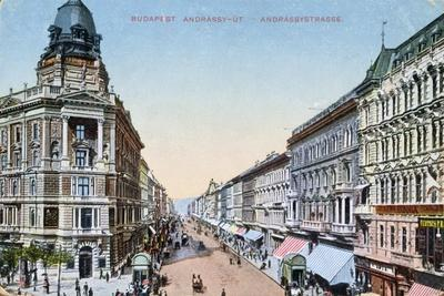 Postcard Depicting the Avenue Andrassy in Budapest, Hungary, 1913