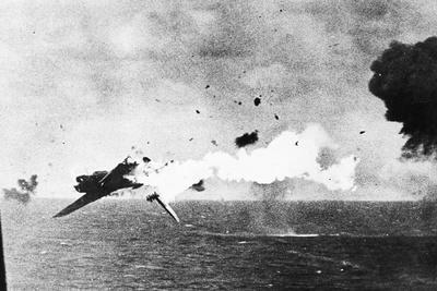 Japanese Kamikaze Plane Shot Down by a US Warship, 1940S