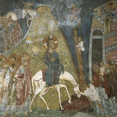 Cyprus, Troodos Mountains, Mural in Byzantine Church of Ayios Nikolaos Tis Steyis