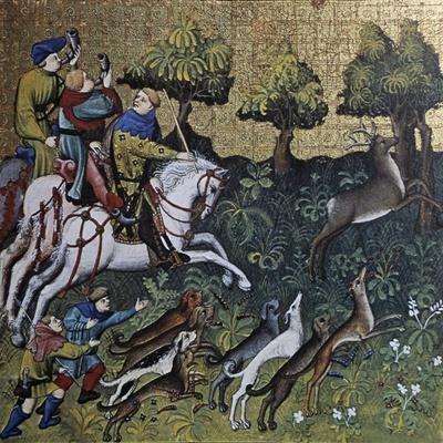 Hunting Scene, Illustration from Livre De Chasse, Medieval Treatise on Hunting