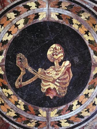 Skeleton Praying, Detail from Marble Floor, Cornaro Chapel, Church of Santa Maria Della Vittoria