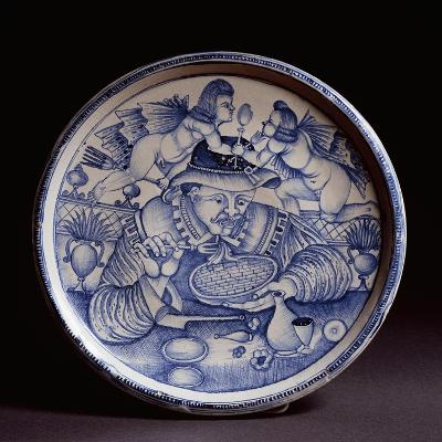 Plate Decorated with Figure of Macaroni Eater