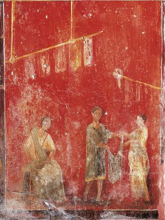 Pillar Fresco Depicting Wool Manufacturing, Maidservant Giving Woman Clothing