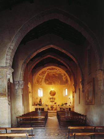 Interior of the Church of Saint Peter, Anticoli Corrado, Italy, 11th Century