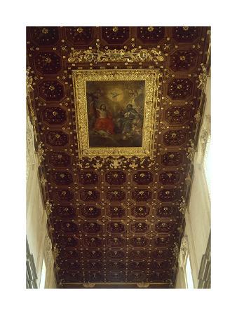 Decoration of Ceiling, Interior of Basilica of Santa Croce, Lecce, Apulia, Italy