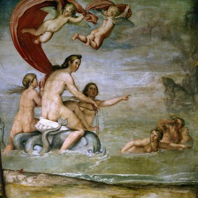 Figure of Nereids, Detail from Frescoes in Hall of Zodiac of Palazzo Odescalchi at Bassano Romano