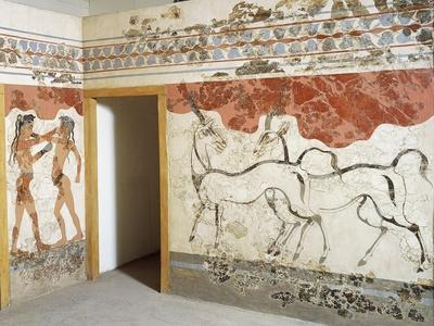Greek Civilizationes Depicting Antelopes and Young Boxers, from Akrotiri, Thera, Santorini, Greece