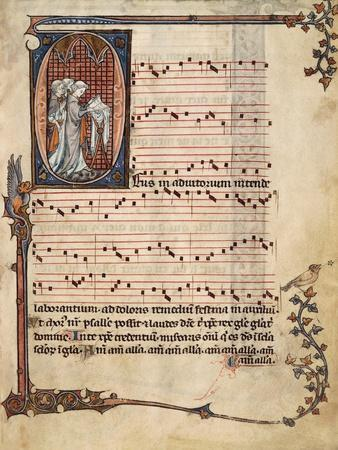 Music Page with Capital Letter Illuminations Depicting Singers, Miniature