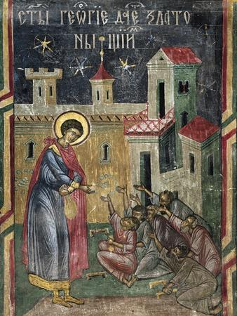 Romania, Sucevita Monastery Depicting St George Giving Alms, Detail from Life of St George