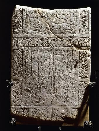 Italy, Apulia, Daunian Stele, Engraved Slingsman and Birds