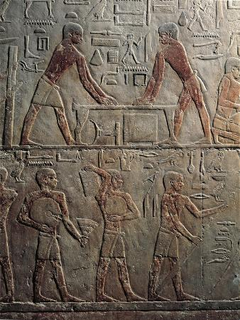 Egypt, Cairo, Ancient Memphis, Saqqara, Painted Relief of Working Carpenters at Mastaba at Ti