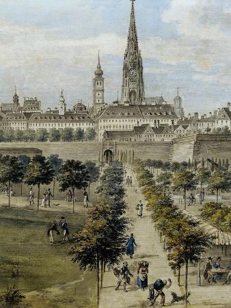Austria, Vienna, Painting of Volksgarten