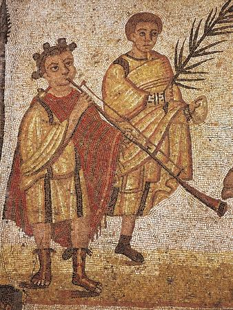 Two Musicians, Detail from Mosaic in Exercise Room, Villa Romana Del Casale, Sicily, Italy