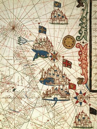 Portolan Chart Depicting the Cities of Venice, Genoa and Marseille
