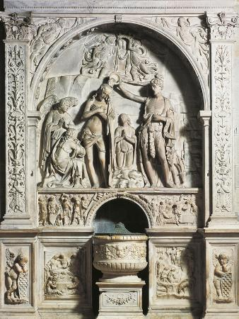 Baptismal Font with Aedicule, Baptism of Christ and Birth of St John Baptist, Praying in Desert