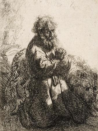 St. Jerome Kneeling in Prayer, Looking Down, 1635