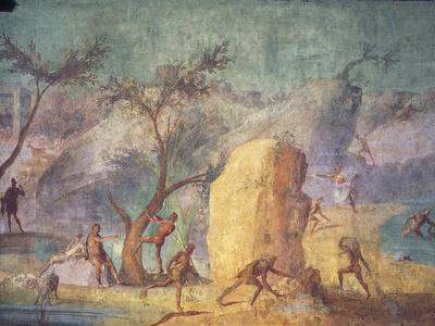 Detail of Ancient Roman Fresco Odyssey Illustration Representing Land of Giants Laestrygonians