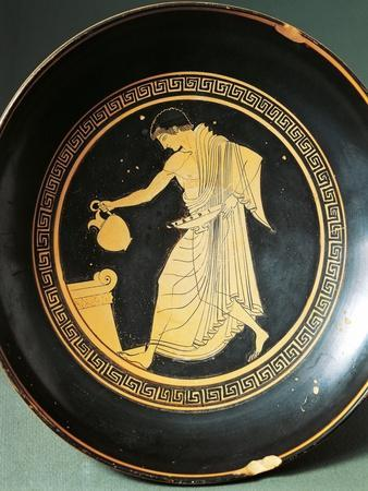 Greek Civilization, Red-Figure Pottery, Kylix Depicting Youth Near an Altar