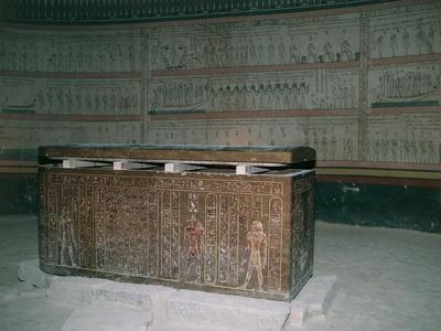 Egypt, Luxor, Valley of the Kings, Tomb of Thutmose III, Interior Burial Chamber and Sarcophagus