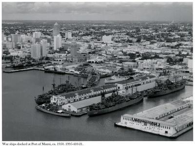 War Ships Docked at the Port of Miami, C.1950