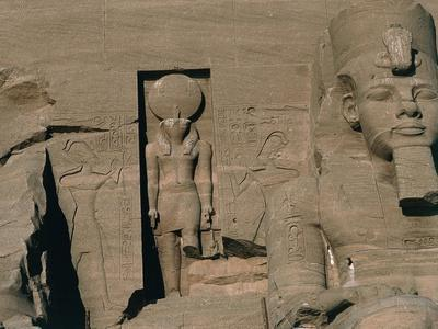 Egypt, Nubia, Abu Simbel, Great Temple of Ramses II, Facade, Niche with Statue of Sun God Ra