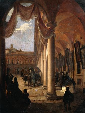 The Courtyard of the Maggiore Hospital of Milan, Angelo Inganni